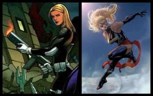 Carol Danvers as a S.H.E.L.D. agent and as Ms. Marvel