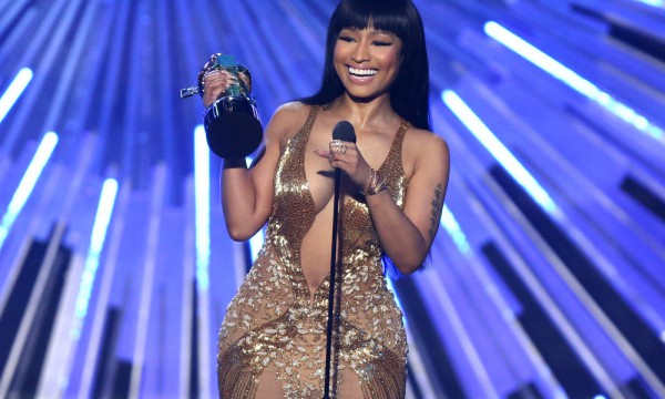 Nicki Minaj accepts the award for hip-hop video of the year for ìAnacondaî at the MTV Video Music Awards at the Microsoft Theater on Sunday, Aug. 30, 2015, in Los Angeles. (Photo by Matt Sayles/Invision/AP) ORG XMIT: CAPM374